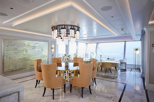 The dining area of a suite aboard luxury ship Seven Seas Splendor.