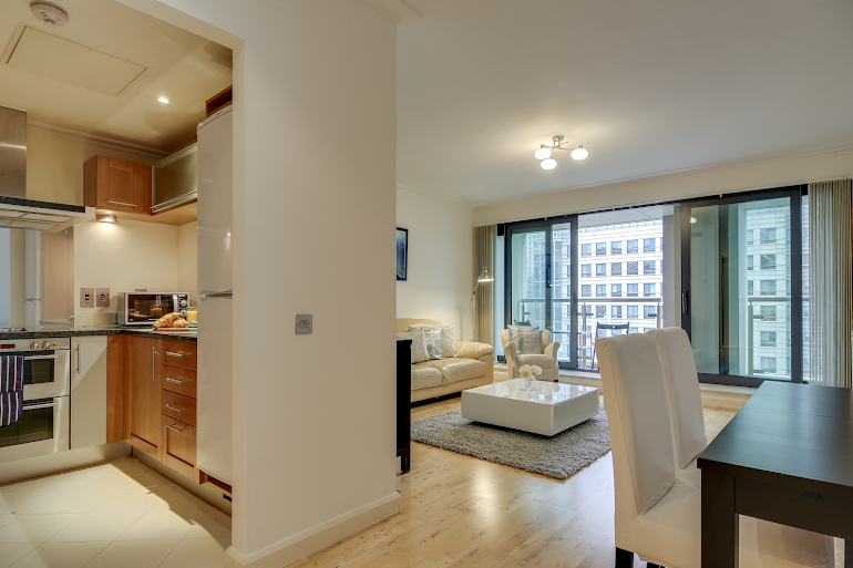 Living room at South Quay Serviced Apartments, Canary Wharf