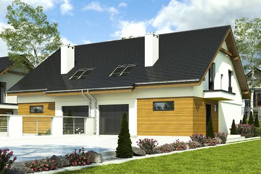 projekt Głuszec II z garażem 1-st. bliźniak A-BL1