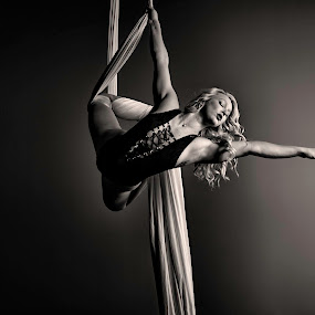 Exit Stage Right by Monte Arnold - Black & White Portraits & People ( blonde, black and white, art, beautiful, fine art photography, fine art, silks, aerial, dance, circus, dancer,  )