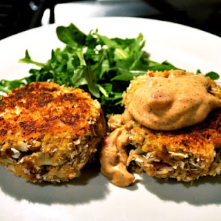 Crab Cakes with Spicy Pimento Mayo.