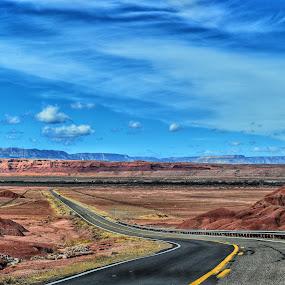 Long,long way... by Nelida Dot - Landscapes Travel ( beautiful, blue sky, road, arizona, hills, land, scenic, landscape,  )