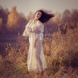 Beautifuvery, beautiful, girl, dress, sunny, bright, yellow, red, portraitl autumn by Dmitry Laudin - People Portraits of Women