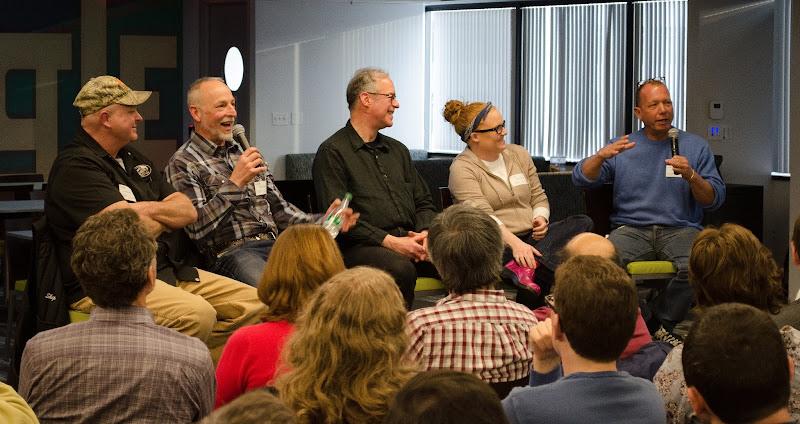 Photo: (l-r) Geoff Janowski, Rob Gregory, Jonathan Ostrowsky, Tiffani Faison, and Chris Schlesinger.