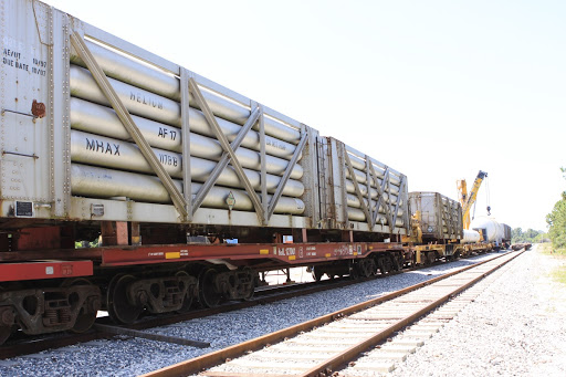 Helium Tanks & Generators Loaded onto Train for SpaceX Launch in California.