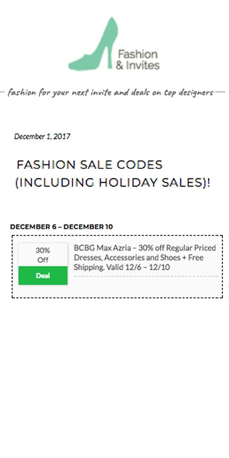 Fashion & Invites-Women's Clothing and Sale Codes- screenshot