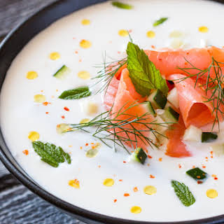 Refreshing Yogurt Summer Soup With Cucumber And Salmon.