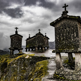 Espigueiros of Soao by Ido Ben-Itzhak - Buildings & Architecture Decaying & Abandoned ( portugal, cross, clouds )