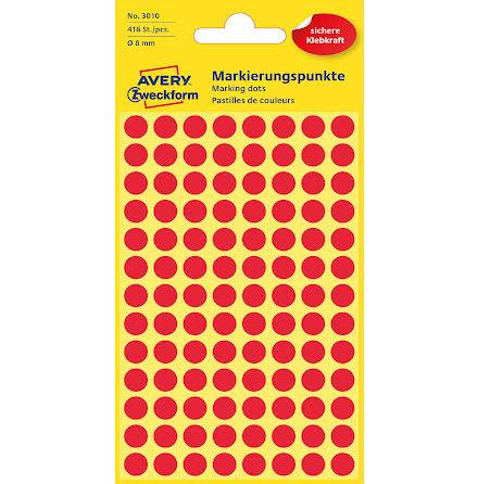 Etikett  8mm rund röd   416/fp