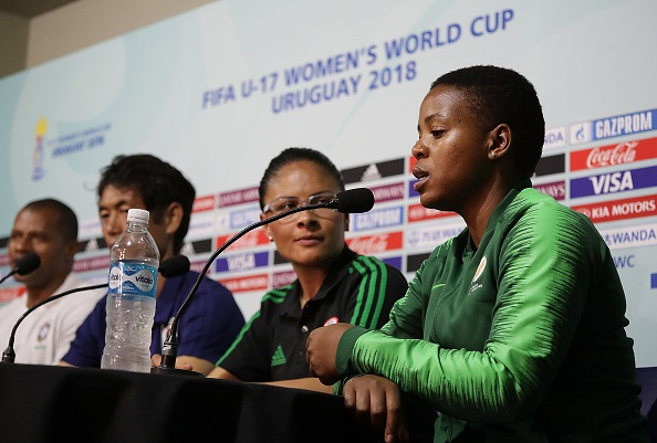 Head coach Simphiwe Dludlu of South Africa talks during a coach's press conference .