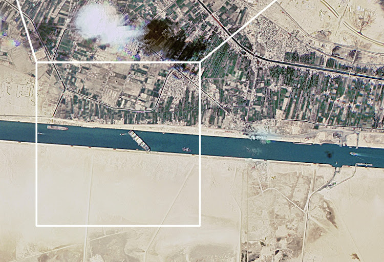 A satellite image shows the Suez Canal blocked by the stranded container ship Ever Given in Egypt, March 25 2021. Picture: TWITTER/D-G ROSCOSMOS/DMITRY ROGOZIN