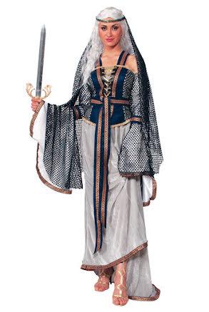 Medeltidsklänning, blå/grå