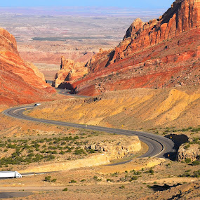 Devils Canyon by Chuck Vinson - Landscapes Mountains & Hills ( trucks, mountains, desert, highway, canyon,  )