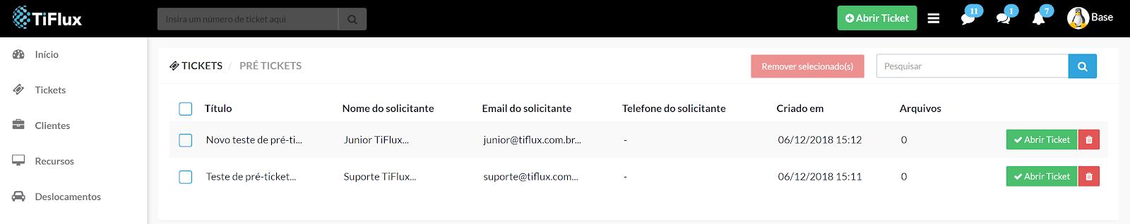 Configuração de e-mails para abertura de chamados no TiFlux
