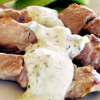 Pork Kabobs with Cilantro Yogurt Sauce