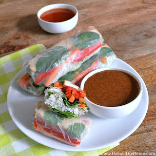 Veggie Spring Rolls with Two Dipping Sauces.