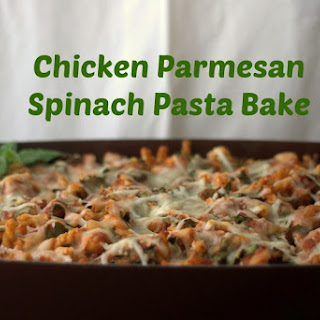 Chicken Parmesan Spinach Pasta Bake.