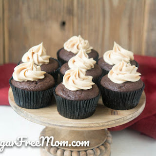Low Carb Chocolate Peanut Butter Stuffed Cupcakes.