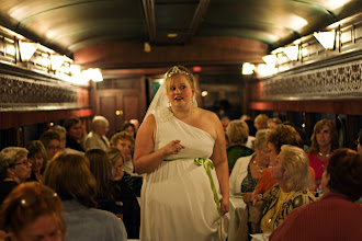 "Photo: A Bride on a Train | The bride giving us all what's for on the Western Maryland Scenic Railroad's (http://wmsr.com) murder mystery train ride. This one was titled ""My Big Fat Railroad Wedding"" and was of course littered with jokes from the similarly named movie. © 2011 Ryan Lynham"