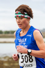 Photo: Sally Greenslade sporting her Welsh bandana to hide the jelly fish stings.
