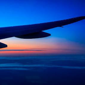 Sunset Wing by Ray Shiu - Transportation Airplanes ( clouds, flight, wing, sky, plane, gold coast, sunset, vehicle, australia, sunrise, transportation )