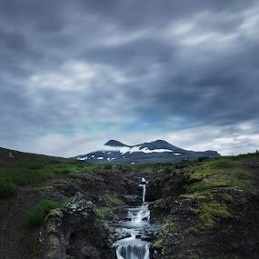 Fresh from the top by Kaspars Dzenis - Uncategorized All Uncategorized ( clouds, stream, iceland, mountain, waterfall, summer, rock, landscape, river )