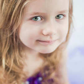 Green Eyes by Jenny Hammer - Babies & Children Child Portraits ( green eyes, purple dress, girl, cute, child )