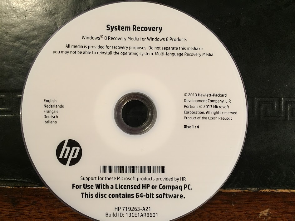 how to use hp recovery disk windows 8