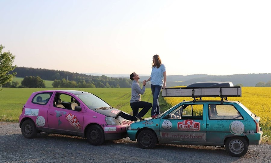 Mongol Rally Wedding Couple - Married to a German Man Expat from America | Krys Kolumbus Travel