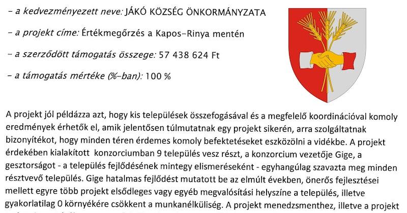 Nyertes pályázati tájékoztató TOP-5.3.1 Jákó