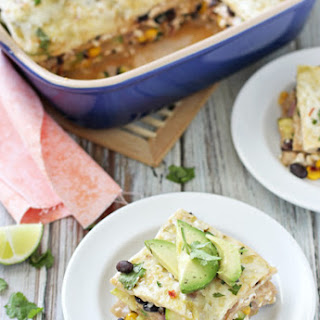 Vegetable Enchilada Casserole with Salsa Verde