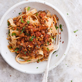 Tagliatelle with Lentil Mushroom Bolognese Sauce
