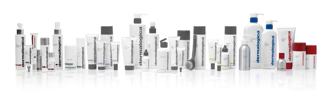 Row of bottles and tubes of dermalogica products