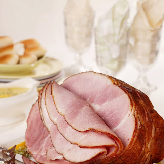 Spiral-Cut Ham with Slow-Roasted Asparagus and Lemon-Thyme Sauce.