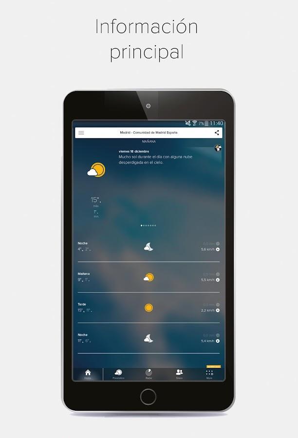 Morecast previsi n del tiempo con radar widget for Widget tiempo android