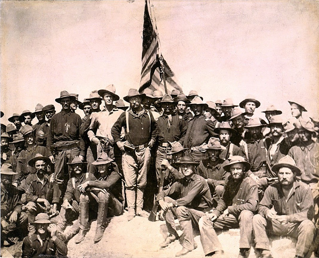 Roosevelt and his Rough Riders celebrate victory. Battle of San Juan, Cuba