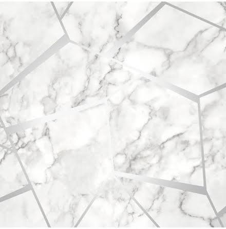 Tapet Marmor med grafiska metalliska detaljer FD42263 - Silver