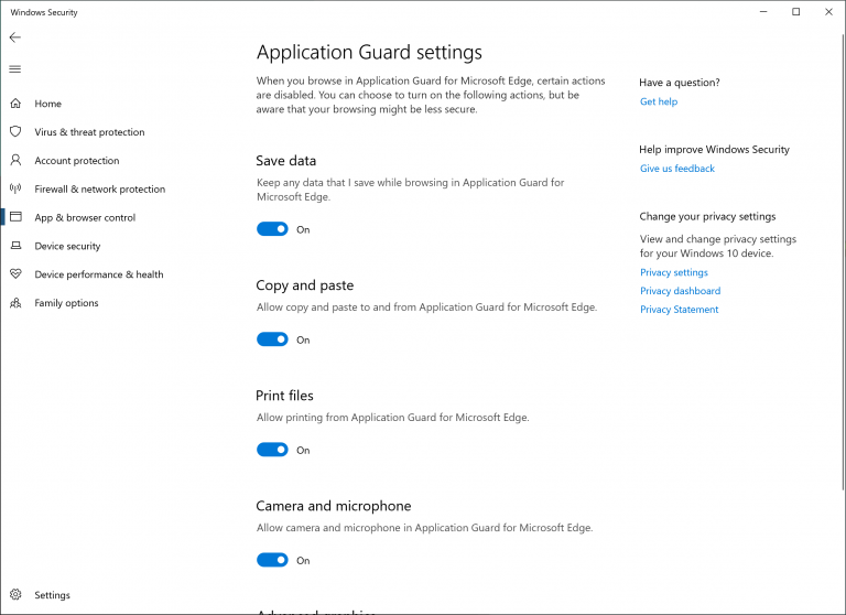 Windows Security gets an additional Windows Defender Application Guard setting