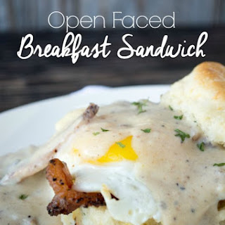 Open Face Breakfast Sandwiches with Bacon Country Gravy.