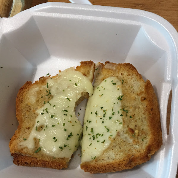 The gluten free cheese bread. Be carful they will charge you for 2 pieces when it's legit 1 piece of bread cut in half. Cheese is good though.