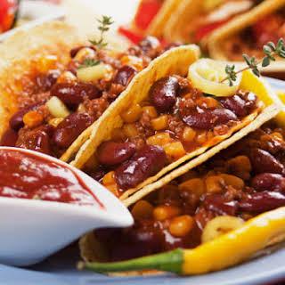 Vegetarian Refried Bean and Salsa Tacos.