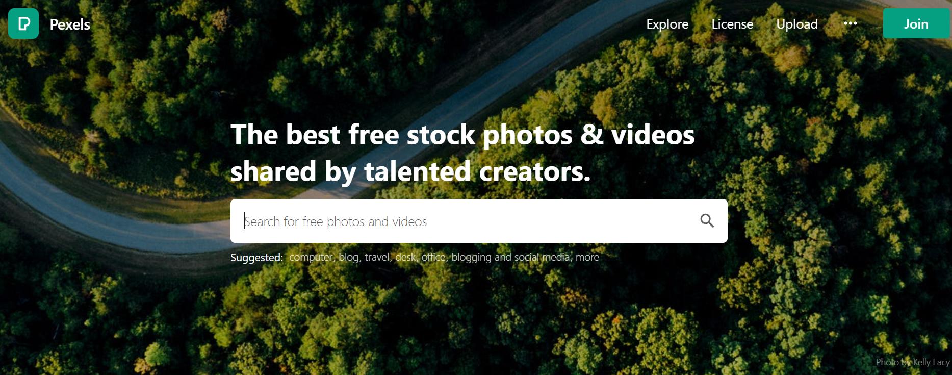 Pexels.com blogging tool for newbie cannabis writers homepage screenshot.