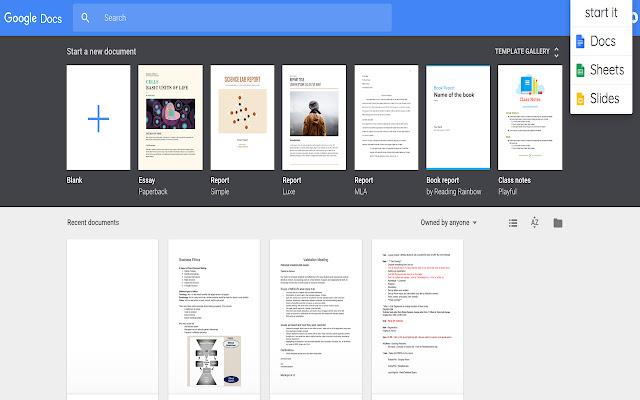 startit: google docs quick starter