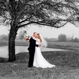 Kissing Under the Old Oak Tree by Matthew Chambers - Wedding Bride & Groom ( bride, dress, groom, tuxedo, grass, oak, tree, bouquet, wedding, black and white, roses )