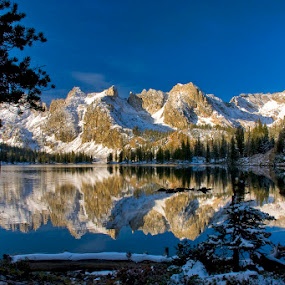 Alice Lake shortly after sunrise Sawtooth National Forest Idaho by Charles Knowles - Landscapes Mountains & Hills ( idaho, stanley, winter, sawtooth, morning )
