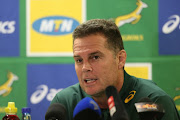 Springbok coach Rassie Erasmus during the South African national mens rugby team announcement at Cape Town Stadium on June 21, 2018 in Cape Town, South Africa.