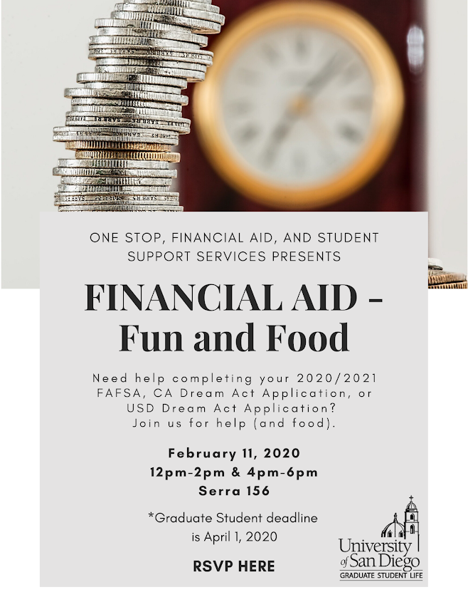 Financial Aid - Fun & Food, Feb. 11 from 12-2pm and 4-6pm in Serra 156