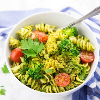 Broccoli Pesto with Pasta and Cherry Tomatoes.