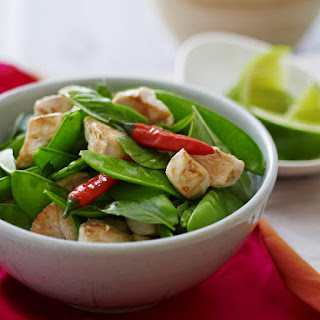 Chicken with Snow Peas and Basil.