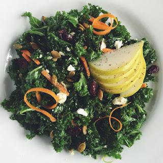 Harvest Kale Salad With Cranberries, Pepitas, Ricotta Salata + Pear